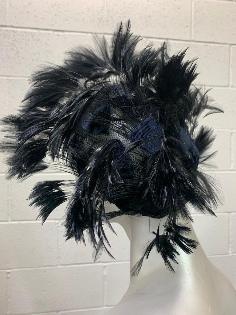 1950 Christian Dior Chapeaux Black Feather Turban W/ Velvet Applique Details For Sale 5