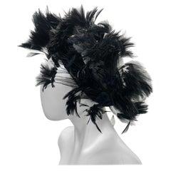 1950 Christian Dior Chapeaux Black Feather Turban W/ Velvet Applique Details
