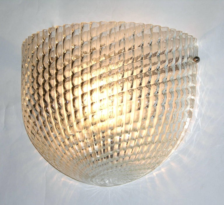 Art Deco 1950 Crystal Textured Murano Glass Sconce Attributed to Barovier e Toso For Sale