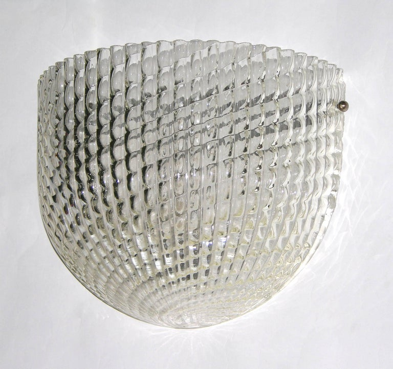 Italian 1950 Crystal Textured Murano Glass Sconce Attributed to Barovier e Toso For Sale