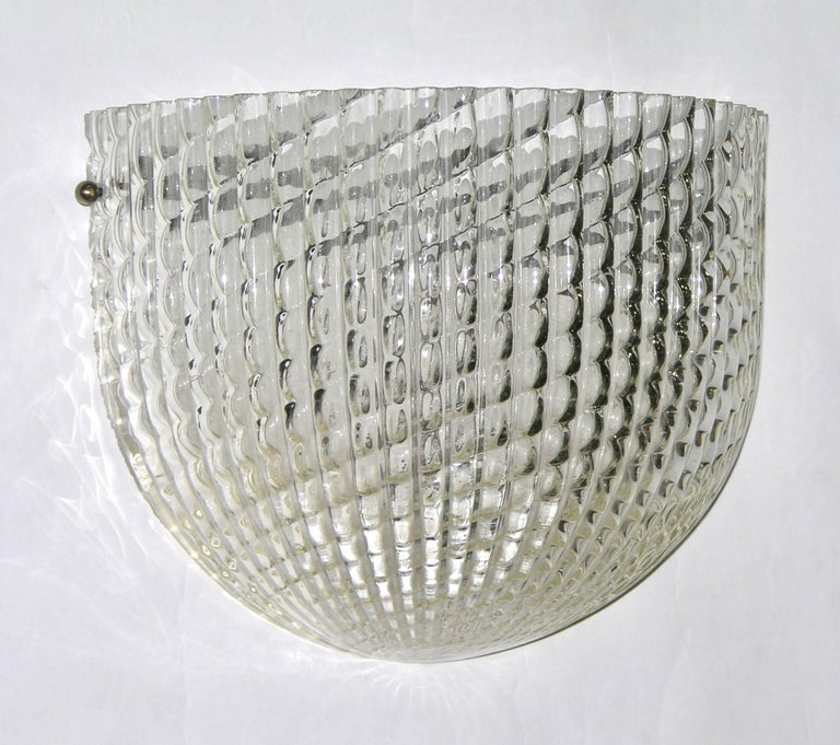 Blown Glass 1950 Crystal Textured Murano Glass Sconce Attributed to Barovier e Toso For Sale