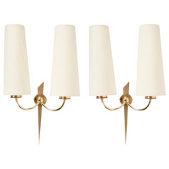 1950 Elegant Pair of Wall Lights from Maison Arlus