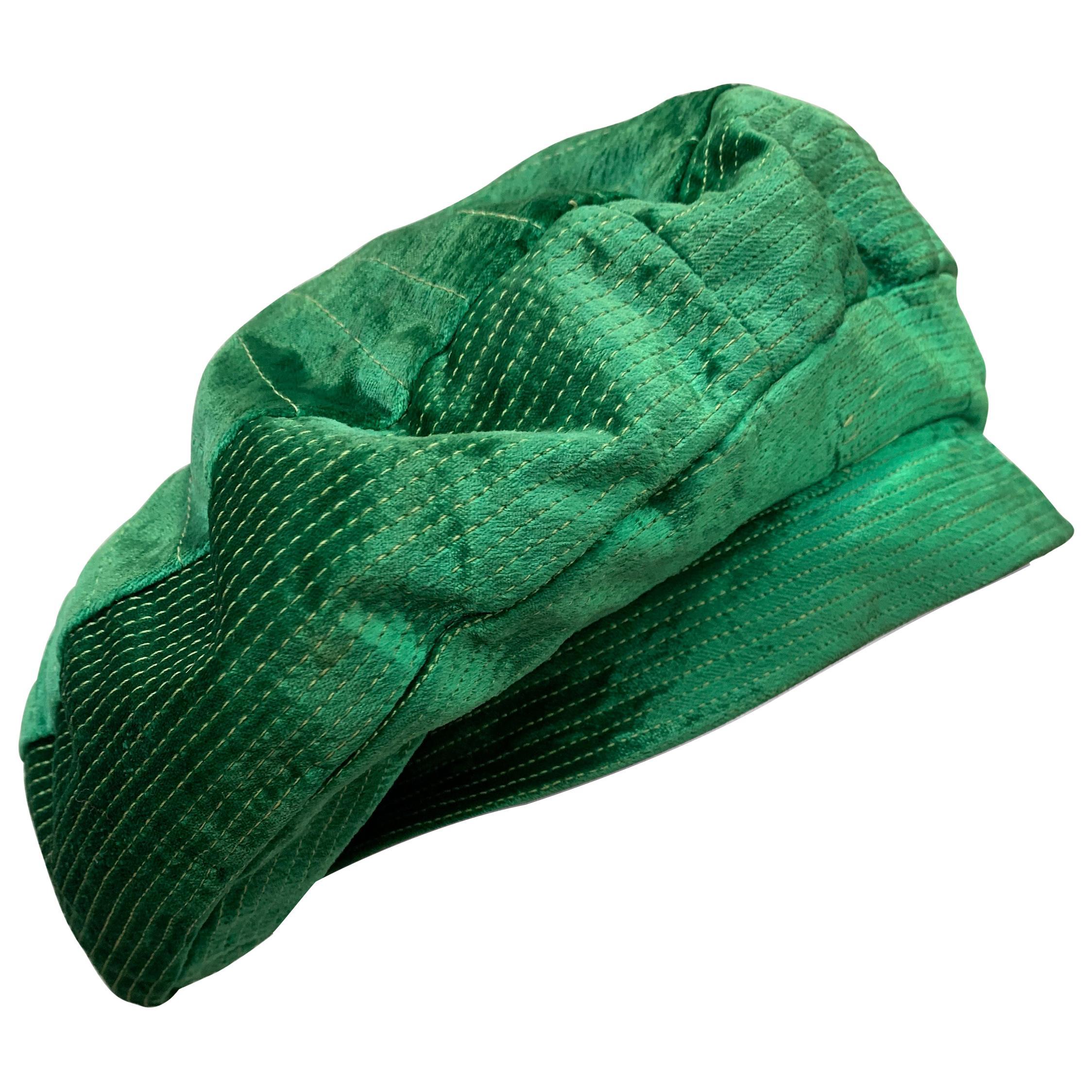 1950 Emerald Green Silk Panne Velvet Trapunto Stitch Tam Style Hat