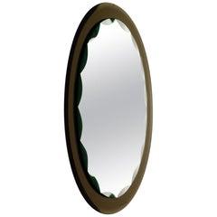 1950 Fontana Arte Italian Design Midcentury Cut Crystal Glass Mirror