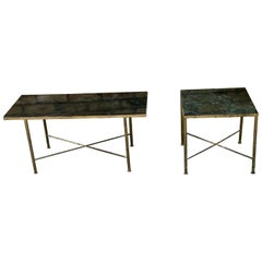 1950 French Brass and Marble Side Tables Green Black