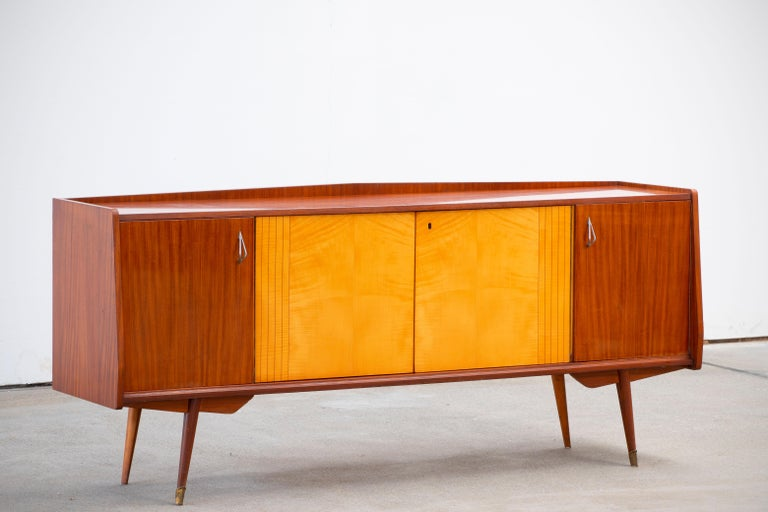 Veneer 1950 French Credenza in Walnut and Maple For Sale
