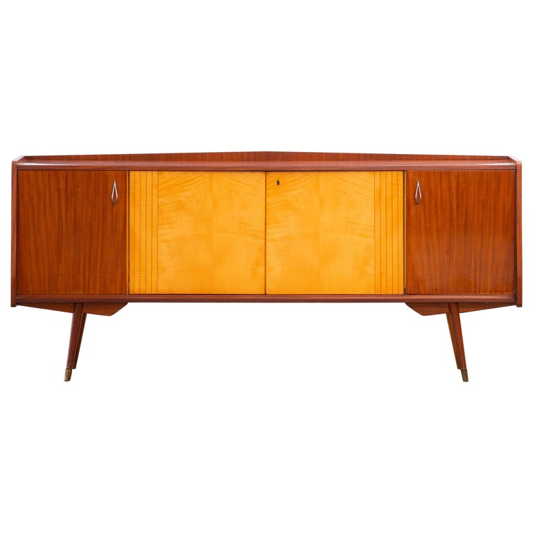 1950 French Credenza in Walnut and Maple For Sale
