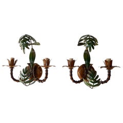 1950 French Faux Bamboo Palm Tole Sconces