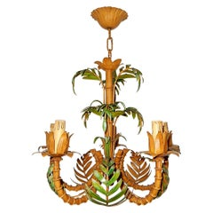 1950 French Tole Faux Palm Tree Five-Light Chandelier