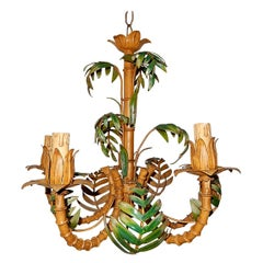 1950 French Tole Palm Tree Five-Light Chandelier One of Two