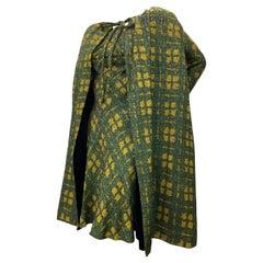1950 Galanos Olive & Mustard Color Fine Wool Boucle Dress & Cape Ensemble