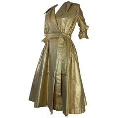 1950 Gold Lame ShowGirl Belted Trench Coat W/Notched Collar Size 6