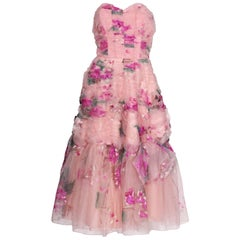 1950 Handpainted Floral Pink Party Dress