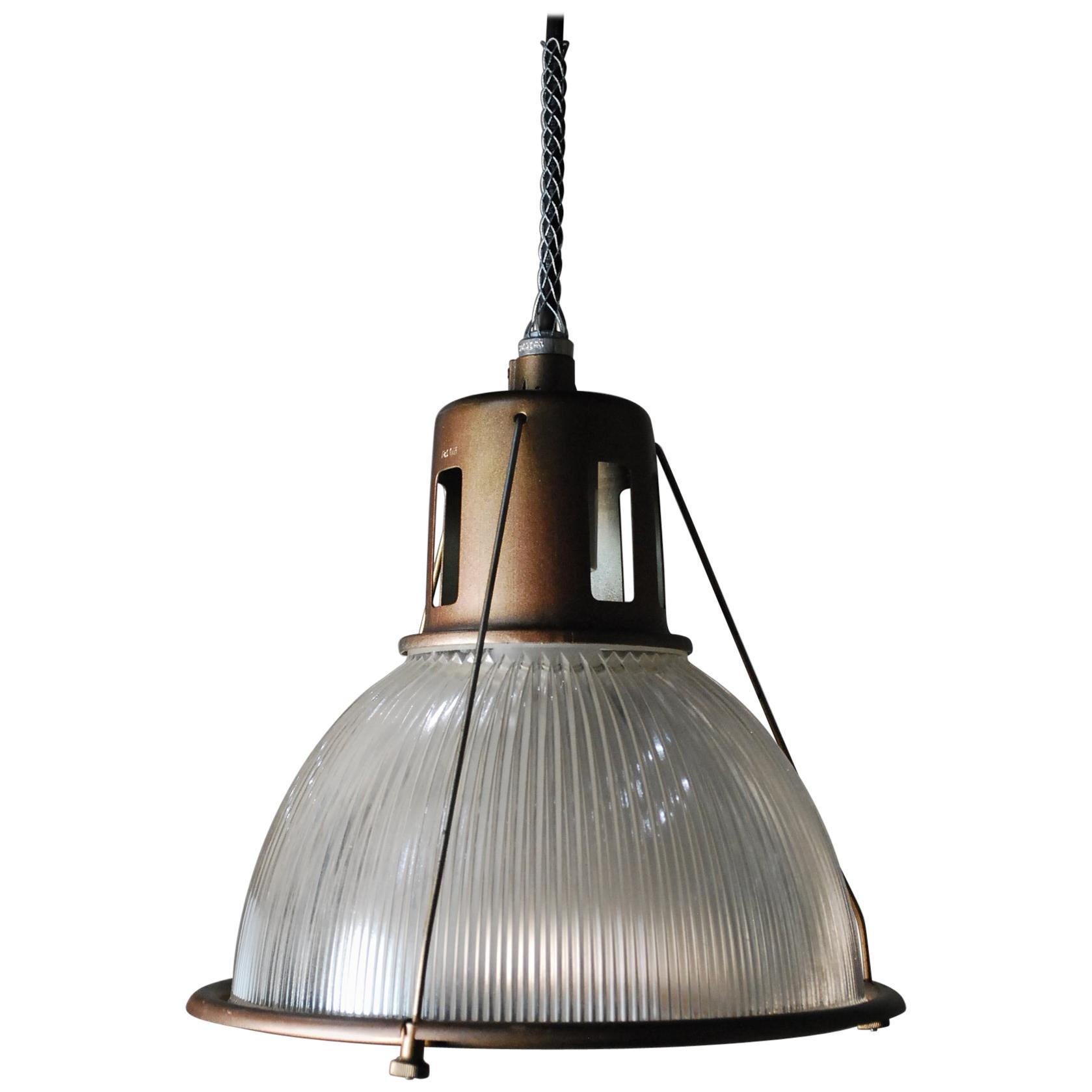 1950 Holophane Industrial Pendants in Bronze Finish