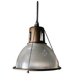 1950 Holophane Industrial Pendants in Bronze Finish