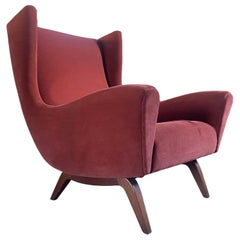 1950 Illum Wikkelsø Wingback Chair 'model 110' Teak Base Red Velvet