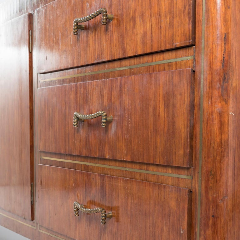 1950 Inlaid Sideboard by Giovanni Gariboldi for Colli, Rosewood Sycomore Brass For Sale 6