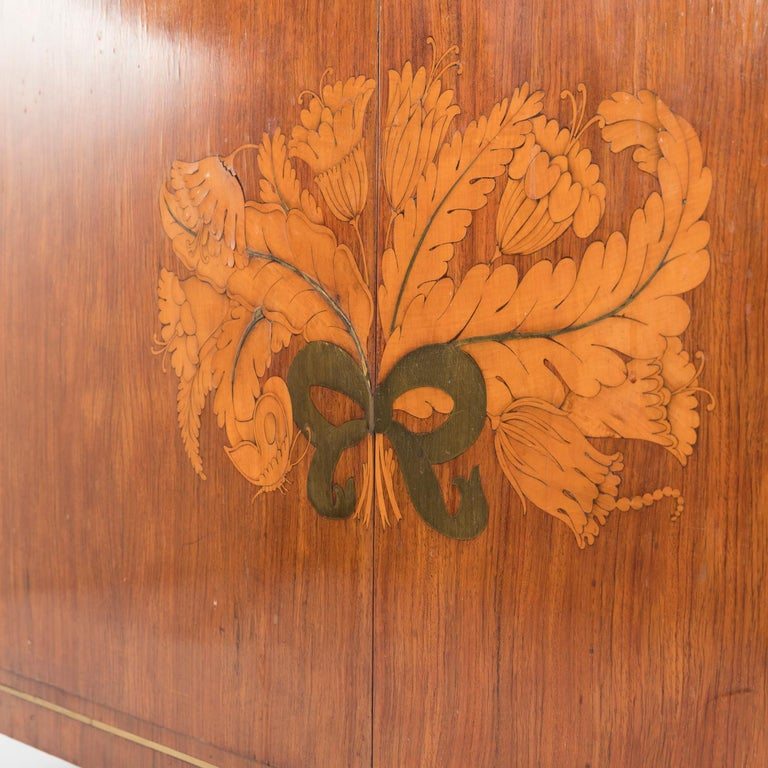 1950 Inlaid Sideboard by Giovanni Gariboldi for Colli, Rosewood Sycomore Brass For Sale 7