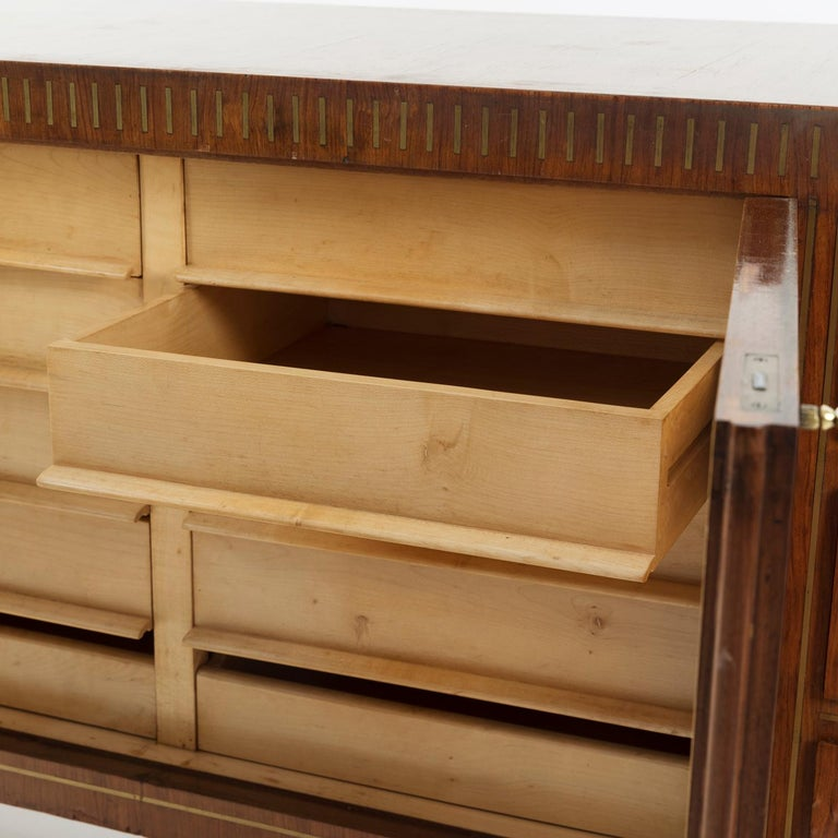 1950 Inlaid Sideboard by Giovanni Gariboldi for Colli, Rosewood Sycomore Brass In Good Condition For Sale In Milan, IT