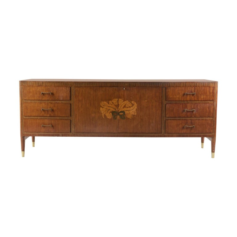 1950 Inlaid Sideboard by Giovanni Gariboldi for Colli, Rosewood Sycomore Brass For Sale