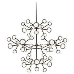 1950 Inspired Nabila Chandelier 48 Lights Blown Glass Black Metal Corrado Dotti