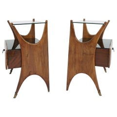 1950, Stunning Italian Design Bed Side Tables in Walnut and Black Glass