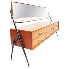 1950 Italian Design Elegant Chest of Drawers Cabinet by Silvio Cavatorta