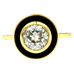 1950 Italian Diamond 1.51 Carat Solitaire Onyx Gold Ring
