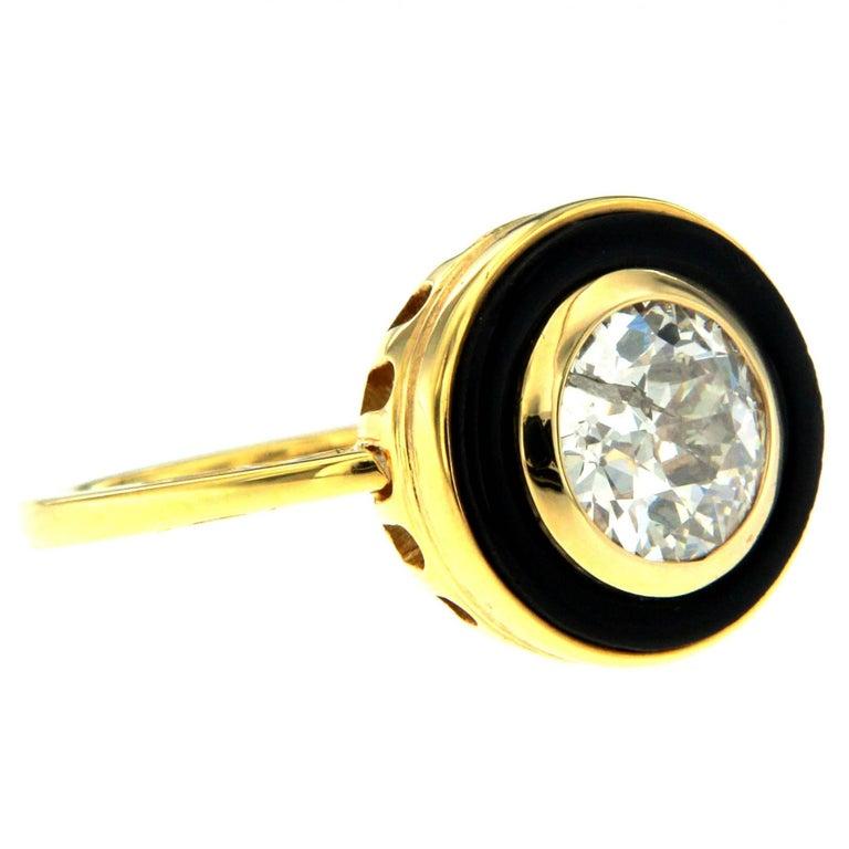 1950 Italian Diamond 1.72 Carat Solitaire Onyx Gold Ring