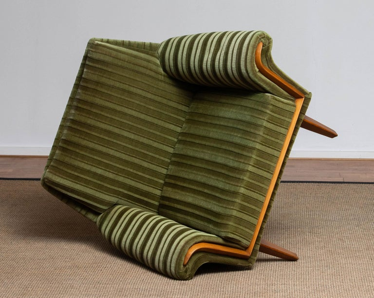1950s Italian Green Striped Velvet Lounge / Easy / Club Chair with Beech Details 5