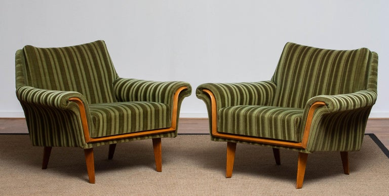 1950s Italian Green Striped Velvet Lounge / Easy / Club Chair with Beech Details 6
