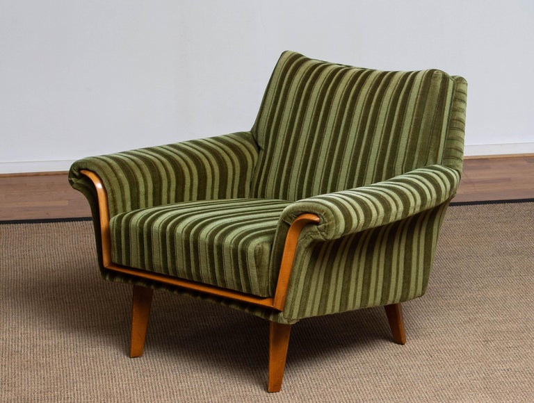 Mid-Century Modern 1950s Italian Green Striped Velvet Lounge / Easy / Club Chair with Beech Details