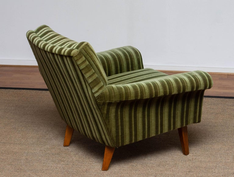 1950s Italian Green Striped Velvet Lounge / Easy / Club Chair with Beech Details 1