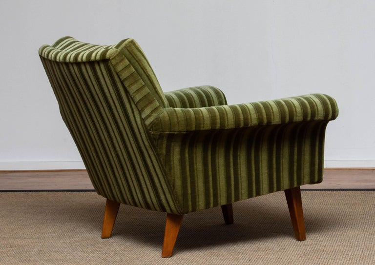1950s Italian Green Striped Velvet Lounge / Easy / Club Chair with Beech Details 2
