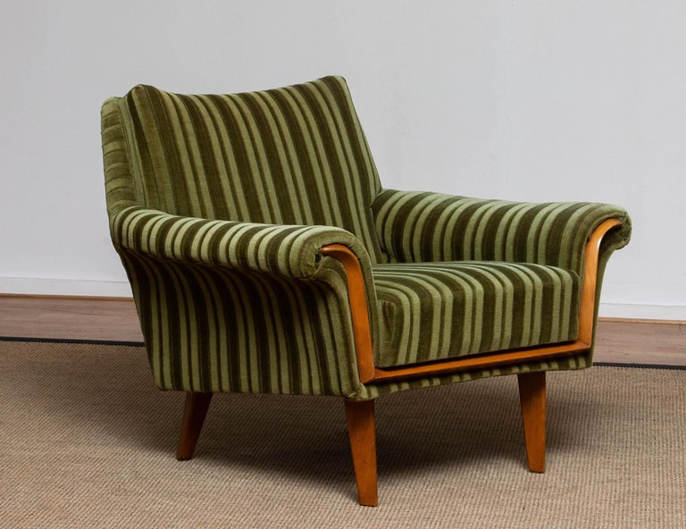 1950s Italian Green Striped Velvet Lounge / Easy / Club Chair with Beech Details 3