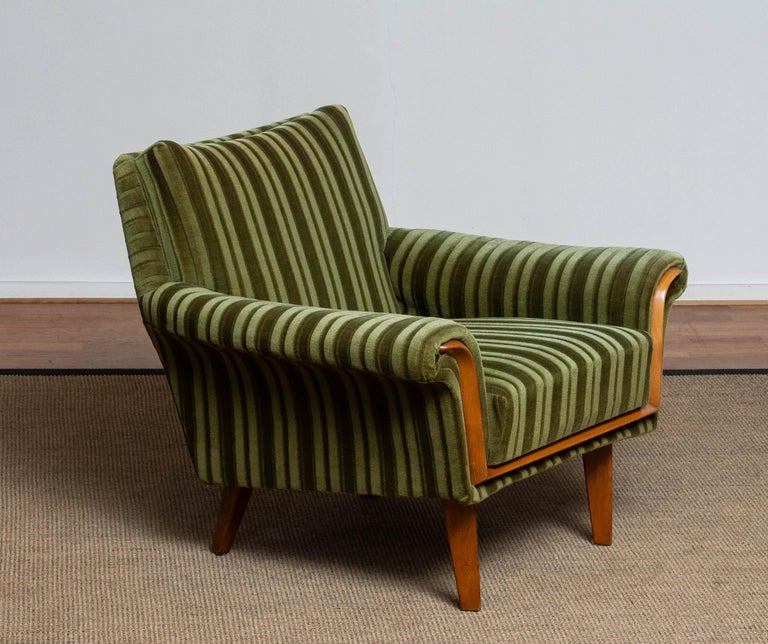 1950s Italian Green Striped Velvet Lounge / Easy / Club Chair with Beech Details 4