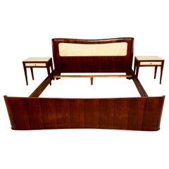 1950 Italy Queen Bed Set Sculptural Buffa Headboard Nightstands Walnut Parchment