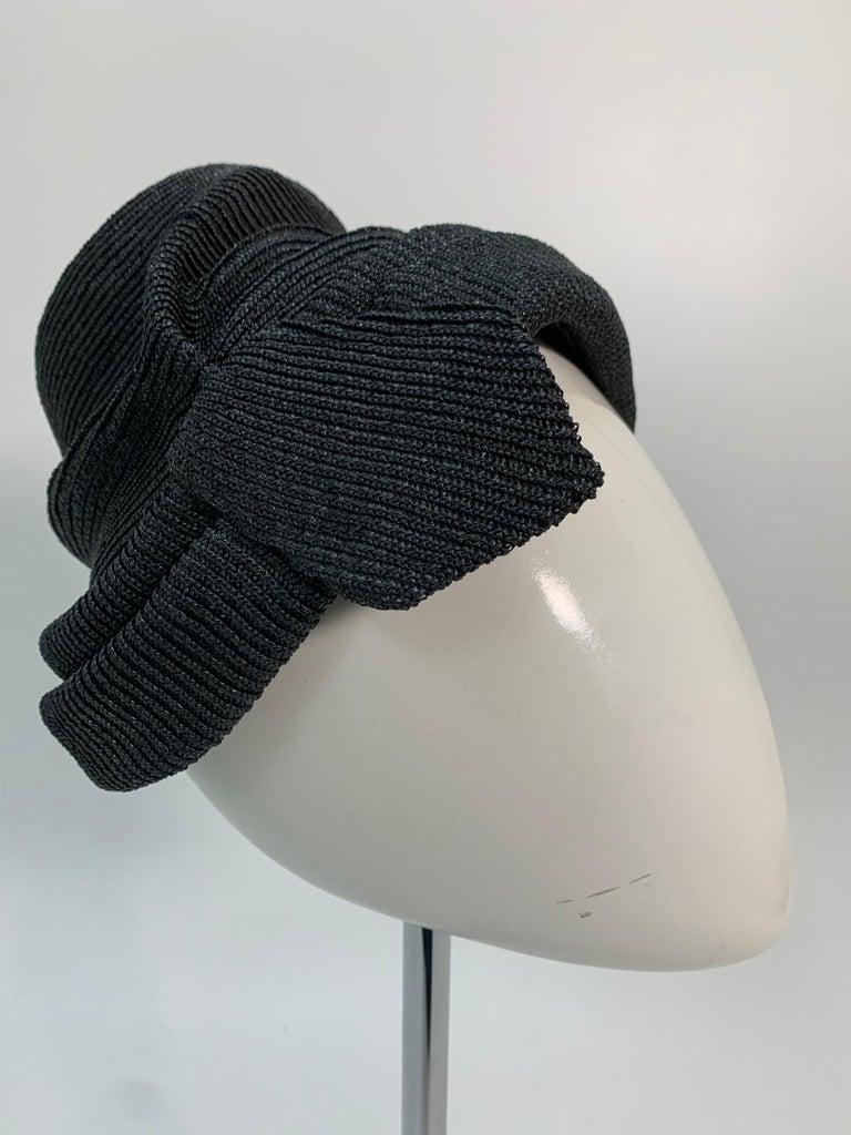 Women's 1950 John Frederics Black Straw Avant Guarde Sculpted Hat  For Sale