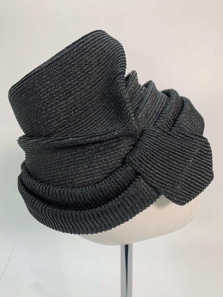 1950 John Frederics Black Straw Avant Guarde Sculpted Hat  For Sale 1