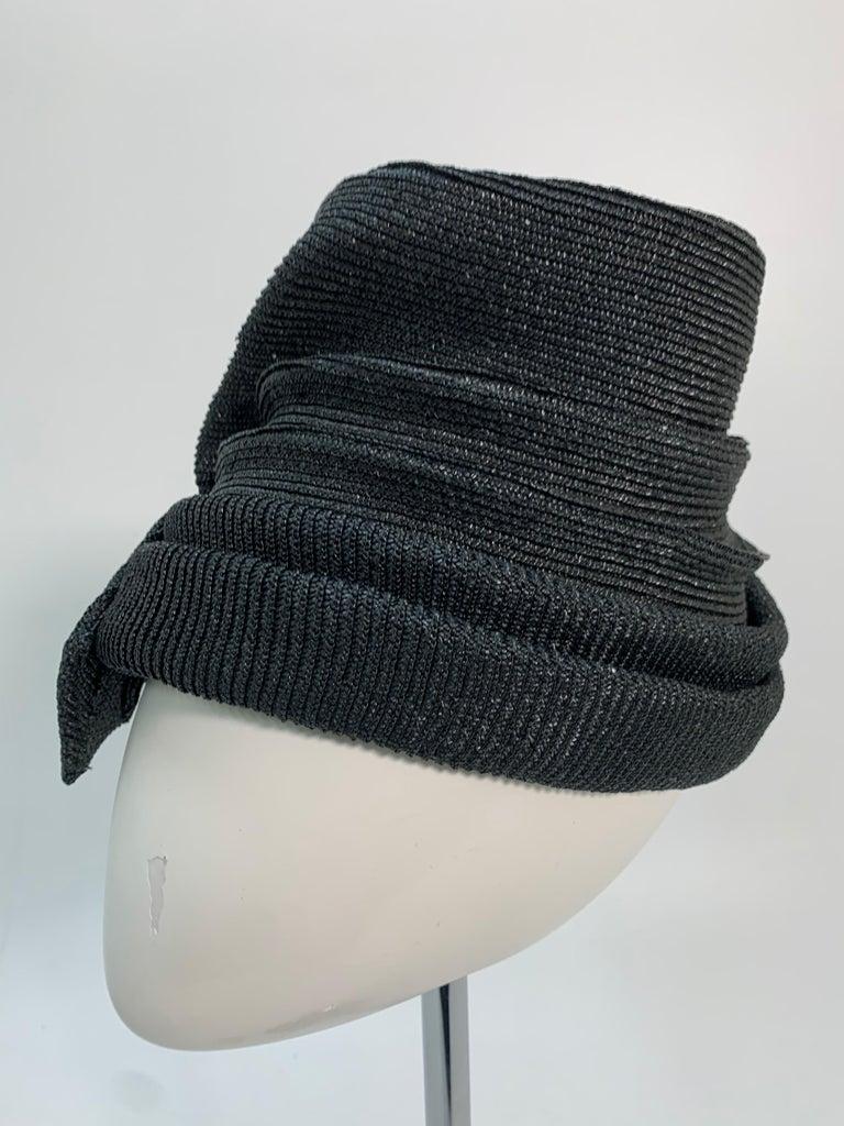 1950 John Frederics Black Straw Avant Guarde Sculpted Hat  For Sale 3