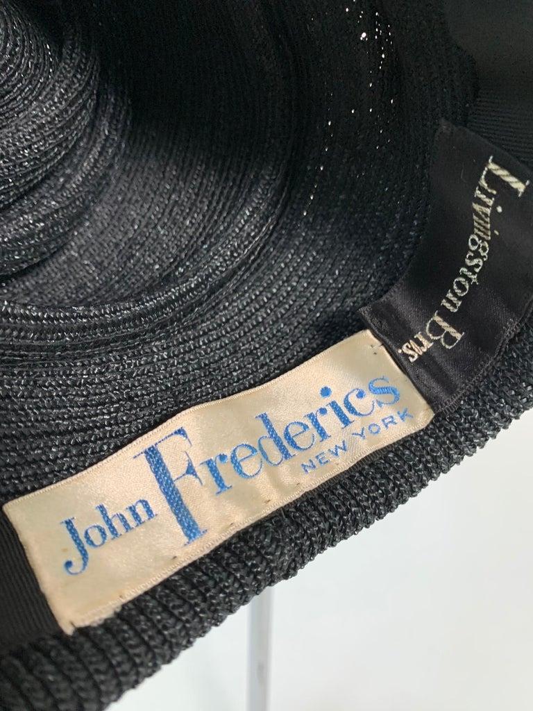 1950 John Frederics Black Straw Avant Guarde Sculpted Hat  For Sale 4