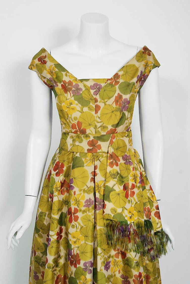 Exceptional Jeanne Lanvin Castillo haute couture watercolor floral gown dating back to the early 1950's. According to two fashion experts, this designer label with the red 'Paris' was used from 1945 through 1954. Castillo was invited by Jeanne