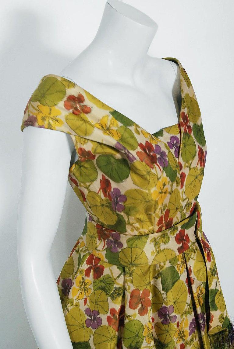 Brown 1950 Lanvin Castillo Haute Couture Watercolor Floral Silk Print Belted Sash Gown For Sale