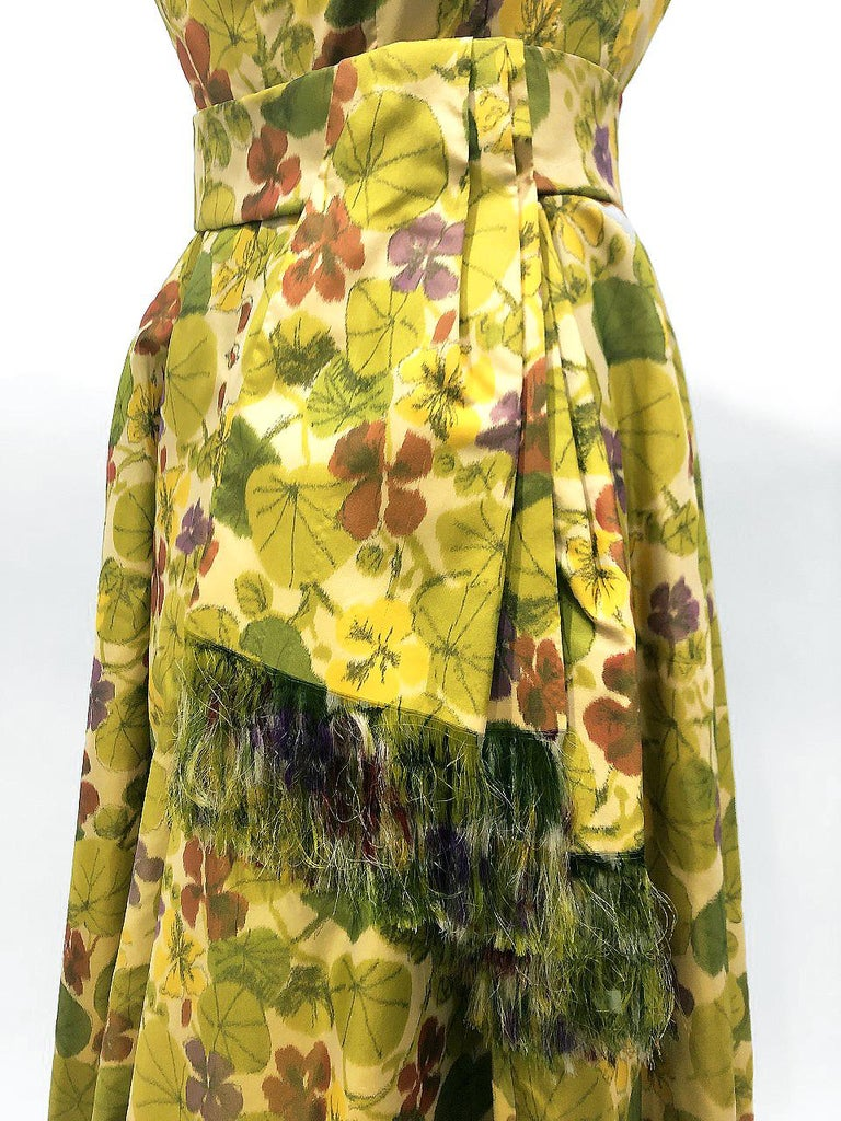 1950 Lanvin Castillo Haute Couture Watercolor Floral Silk Print Belted Sash Gown In Excellent Condition For Sale In Beverly Hills, CA