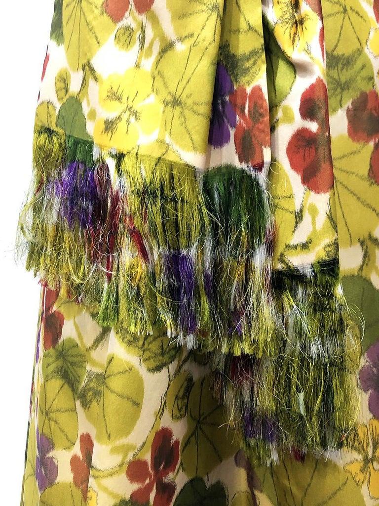 Women's 1950 Lanvin Castillo Haute Couture Watercolor Floral Silk Print Belted Sash Gown For Sale