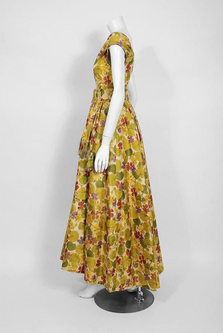 1950 Lanvin Castillo Haute Couture Watercolor Floral Silk Print Belted Sash Gown For Sale 1