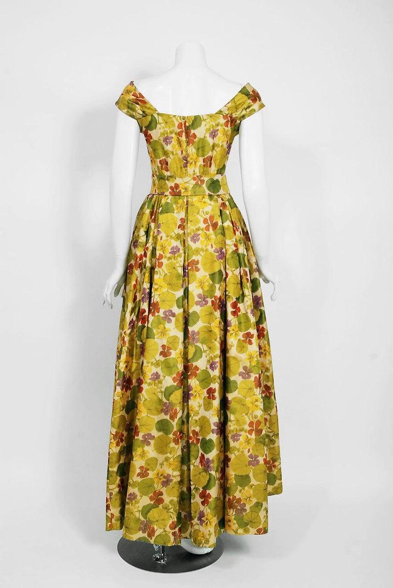 1950 Lanvin Castillo Haute Couture Watercolor Floral Silk Print Belted Sash Gown For Sale 2