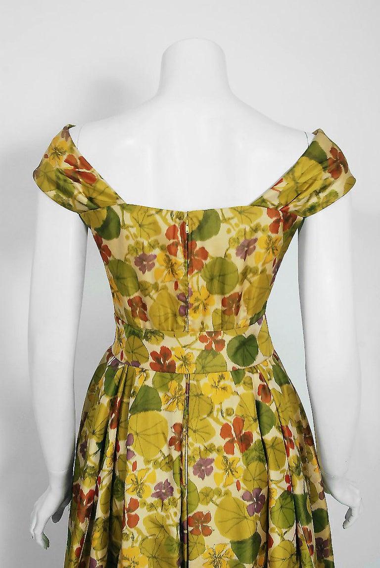 1950 Lanvin Castillo Haute Couture Watercolor Floral Silk Print Belted Sash Gown For Sale 3