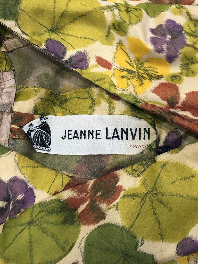 1950 Lanvin Castillo Haute Couture Watercolor Floral Silk Print Belted Sash Gown For Sale 4