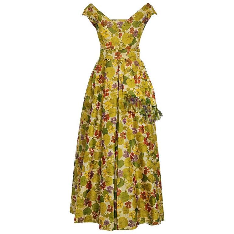 1950 Lanvin Castillo Haute Couture Watercolor Floral Silk Print Belted Sash Gown For Sale